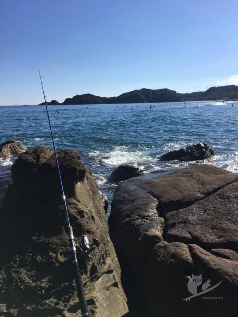 高知・生見海岸で釣り