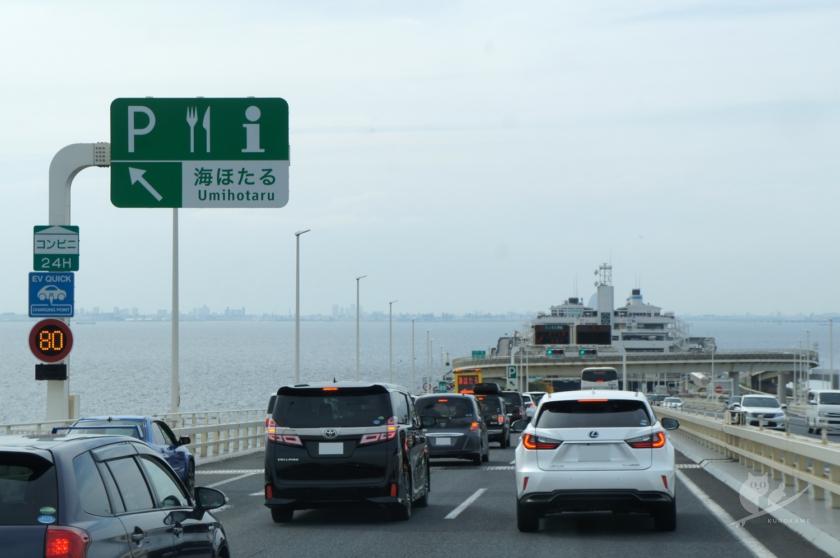 渋滞のアクアラインと海ほたる
