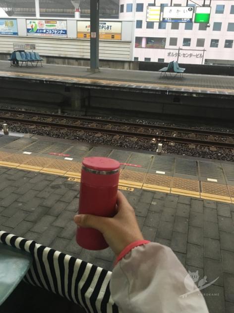 一人サーフィンで南海本線堺駅にて和歌山市駅行きを待つ