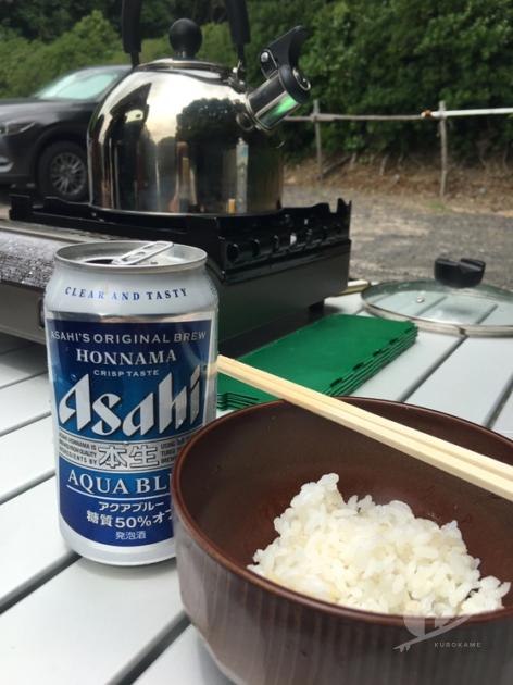 白米と発芽玄米を自炊して車中泊ごはん