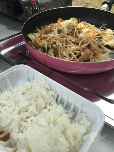 自炊で炊飯&豚しょうが焼き野菜炒め