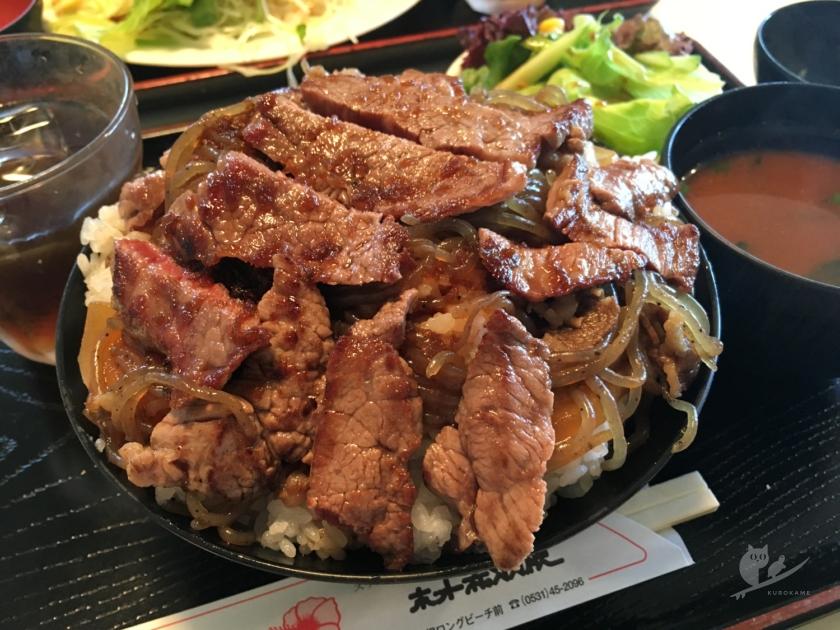 伊良湖・ホット赤羽根のステーキ丼