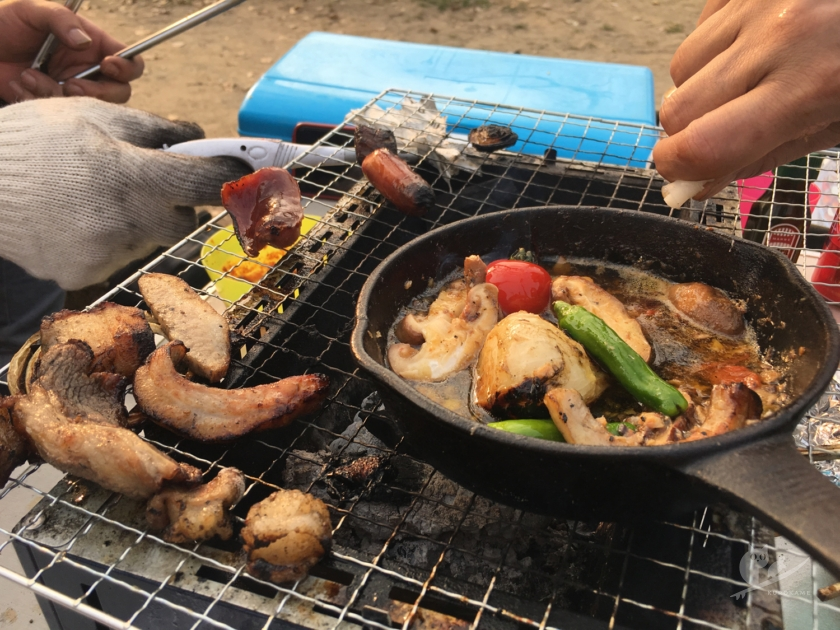 大阪・住吉公園で花見BBQ
