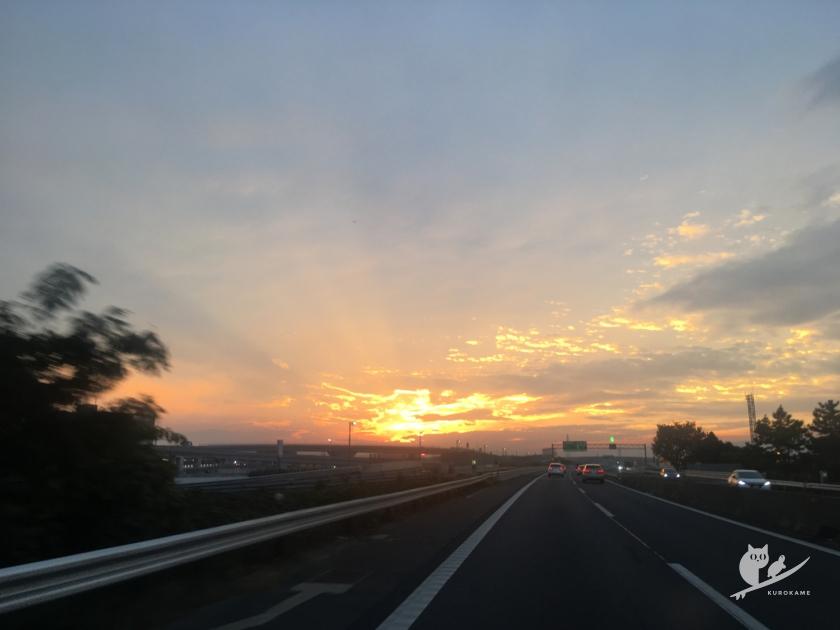 名阪国道の夕焼け